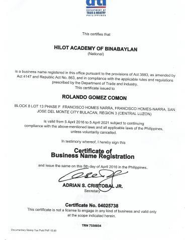 dti certificate