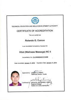 Certificate of Accreditation as Hilot Wellness Massage Assesor