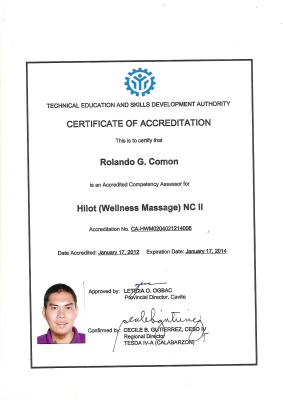 Certificate of Accreditation as Hilot Wellness Massage Assesor