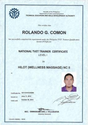 National Certificate as Hilot Wellness Massage Trainer