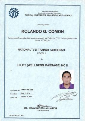 National Certificate as Hilot Wellness Massage Trainer