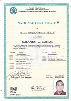 National Certificate as Hilot Wellness Massage provider