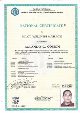 National Certificate as Hilot Wellness Massage provider